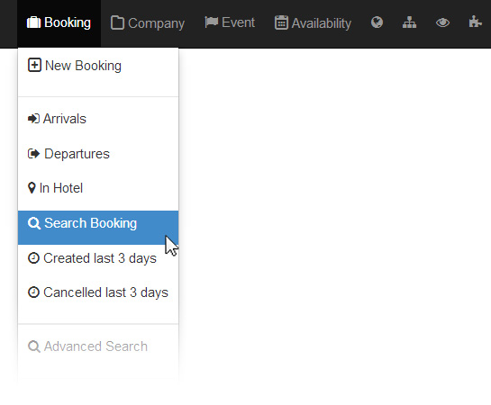 Booking search in Clock PMS Suite hotel management system