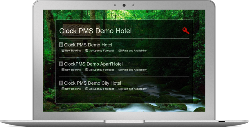 Clock PMS Suite multiple hotel account home screen