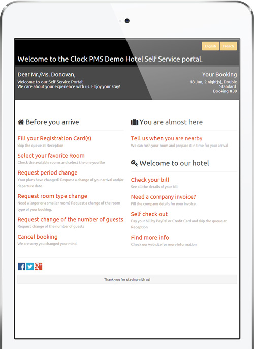 Clock PMS Suite mobile self service home screen