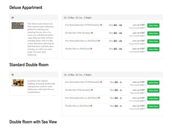 The online booking engine in Clock PMS Suite changes colors and design