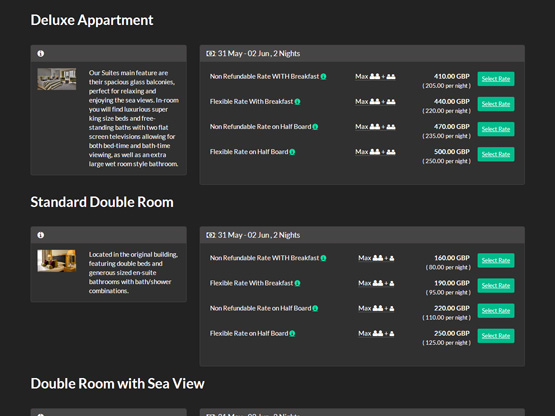 Customisable web booking engine blends into the hotel website